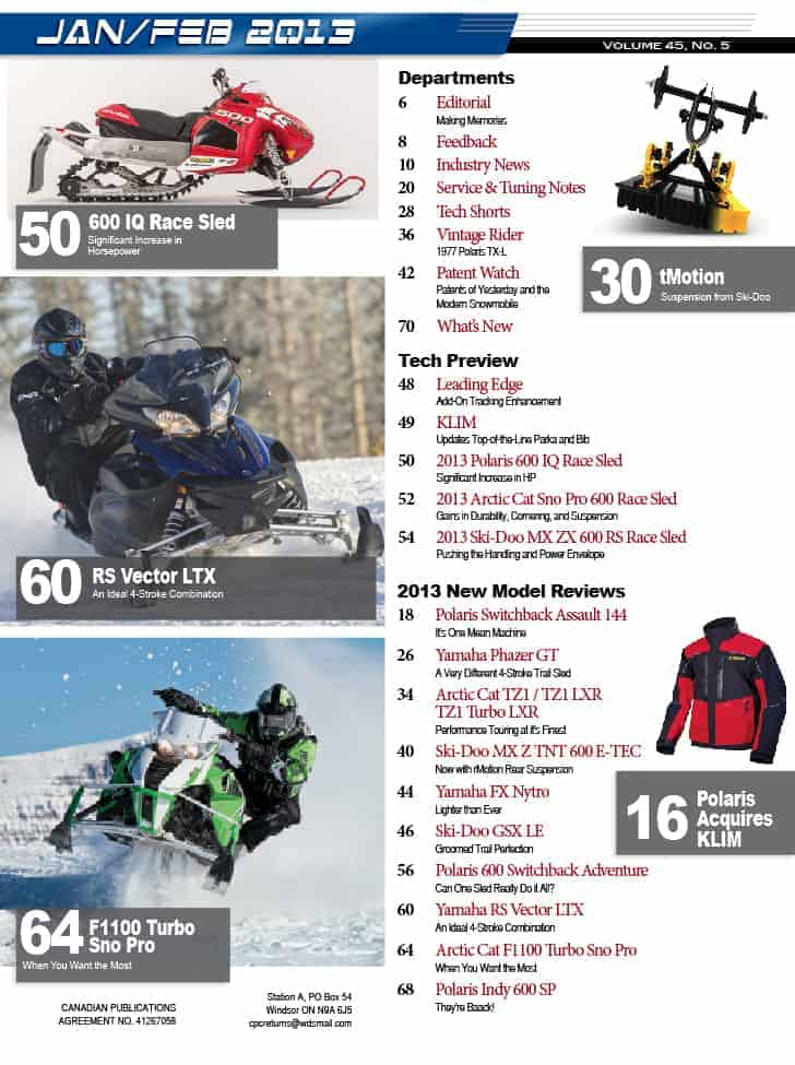 Index Page from the January/February 2013 issue of SnowTech